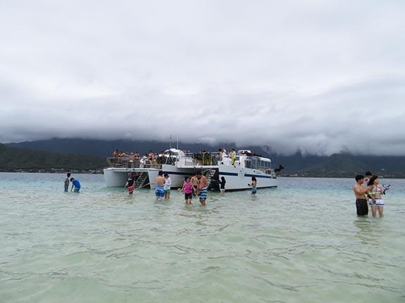 ハワイのサンドバーに上陸