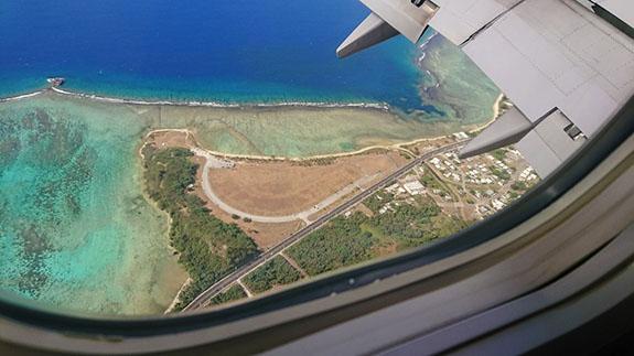 グアム上空からの海